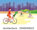 city style woman riding on a... | Shutterstock .eps vector #1040040022