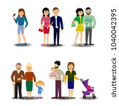 people  couples  parents with... | Shutterstock .eps vector #1040042395