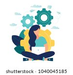 vector illustration of a girl... | Shutterstock .eps vector #1040045185