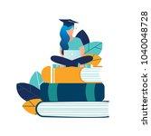 vector illustration girl... | Shutterstock .eps vector #1040048728