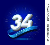 34th anniversary with ribbon  ... | Shutterstock .eps vector #1040049472