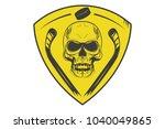 hockey logo  skull with hockey... | Shutterstock .eps vector #1040049865