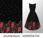 seamless hand drawn floral... | Shutterstock .eps vector #1040056732