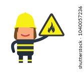 firefighter holding a fire... | Shutterstock .eps vector #1040057236