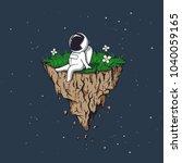 astronaut flies on flying... | Shutterstock .eps vector #1040059165