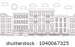 city street with buildings... | Shutterstock .eps vector #1040067325