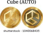 set of physical golden coin...   Shutterstock .eps vector #1040068435
