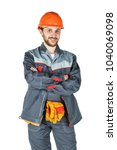 smiling young builder  looking... | Shutterstock . vector #1040069098