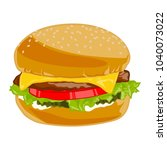 cheeseburger with fresh... | Shutterstock .eps vector #1040073022