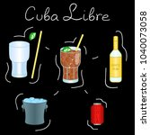 cuba libre cocktail ingredients ... | Shutterstock .eps vector #1040073058