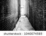 black and white backstreet... | Shutterstock . vector #1040074585