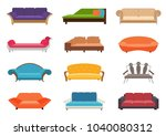 sofa colored vector set.... | Shutterstock .eps vector #1040080312