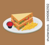 double sandwich with fried... | Shutterstock .eps vector #1040082502