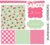 vintage rose pattern  frames... | Shutterstock .eps vector #104008292