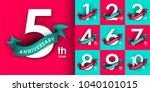 set of anniversary emblems  ... | Shutterstock .eps vector #1040101015