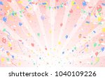 balloon and confetti and pink... | Shutterstock .eps vector #1040109226