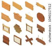 signpost road wooden icons set. ... | Shutterstock .eps vector #1040117512