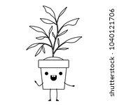house plant in pot kawaii...   Shutterstock .eps vector #1040121706