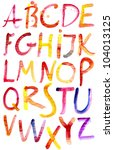 painted watercolor alphabet. | Shutterstock .eps vector #104013125