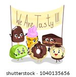 cute sweet tasty dessert... | Shutterstock . vector #1040135656