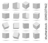 white cubes. geometry modeling... | Shutterstock .eps vector #1040137462