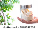 bottle packed with tropical... | Shutterstock . vector #1040137918