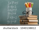 color pencils with stack book | Shutterstock . vector #1040138812