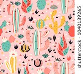 Pink Desert Seamless Pattern In ...