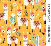 White Llama Seamless Pattern...
