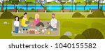 happy people having picnic in...   Shutterstock .eps vector #1040155582