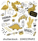 set of cute hand drawn doodle... | Shutterstock .eps vector #1040159692