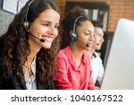 smiling beautiful businesswoman ... | Shutterstock . vector #1040167522