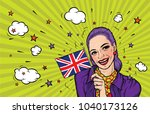 smiling woman holding national... | Shutterstock .eps vector #1040173126
