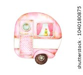 watercolor graphics of a tiny... | Shutterstock . vector #1040180875
