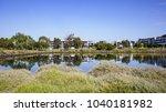 Lake Against Modern Residentia...