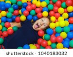 girl is happy in a dry pool... | Shutterstock . vector #1040183032
