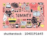 Stock vector hand drawn summer pattern pink tropical vector background artistic doddle drawing creative ink 1040191645