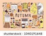 hand drawn autumn pattern. fall ... | Shutterstock .eps vector #1040191648