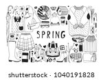 hand drawn spring pattern.... | Shutterstock .eps vector #1040191828