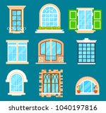 detailed window set isolated... | Shutterstock . vector #1040197816
