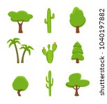 green plant set isolated on... | Shutterstock . vector #1040197882