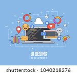 flat illustration for ui ux... | Shutterstock .eps vector #1040218276