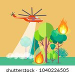 poster showing wildfire. vector ... | Shutterstock .eps vector #1040226505