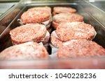 metal tray of frozen ground...   Shutterstock . vector #1040228236