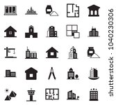 solid black vector icon set  ... | Shutterstock .eps vector #1040230306