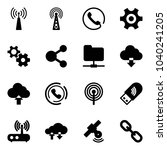 solid vector icon set   antenna ... | Shutterstock .eps vector #1040241205