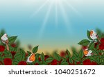 rose and robin bird background... | Shutterstock . vector #1040251672