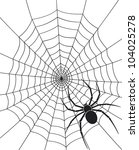 black spider and web | Shutterstock . vector #104025278