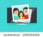 tv flat screen with photo cards ... | Shutterstock .eps vector #1040254456