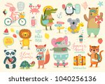 animals hand drawn style ... | Shutterstock .eps vector #1040256136